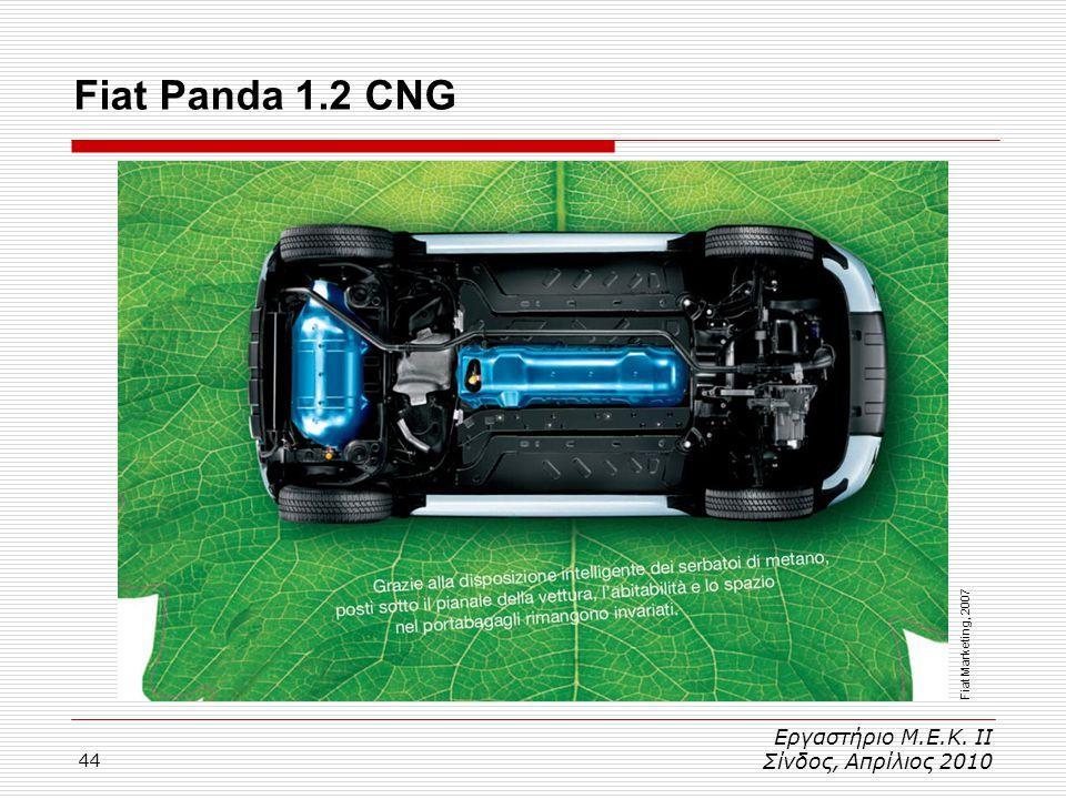 44 Εργαστήριο Μ.Ε.Κ. ΙΙ Σίνδος, Απρίλιος 2010 Fiat Panda 1.2 CNG Fiat Marketing, 2007