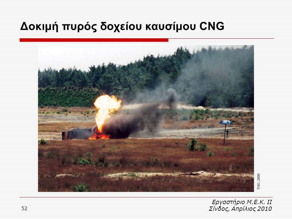 52 Εργαστήριο Μ.Ε.Κ. ΙΙ Σίνδος, Απρίλιος 2010 Δοκιμή πυρός δοχείου καυσίμου CNG TNO, 2008
