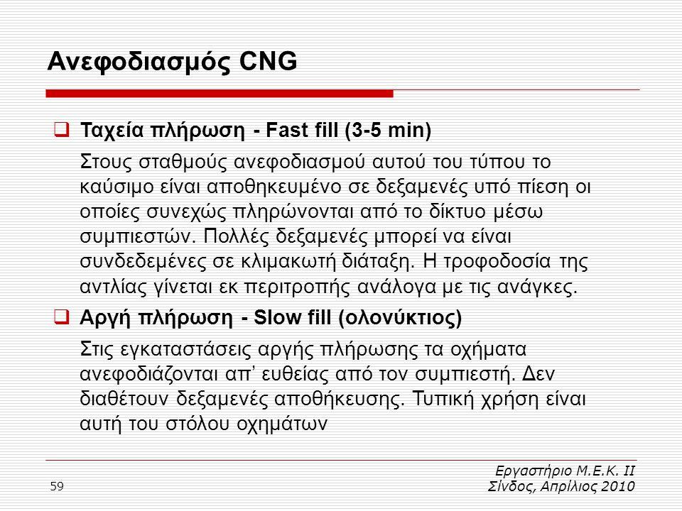 59 Ανεφοδιασμός CNG Εργαστήριο Μ.Ε.Κ. ΙΙ Σίνδος, Απρίλιος 2010  Ταχεία πλήρωση - Fast fill (3-5 min) Στους σταθμούς ανεφοδιασμού αυτού του τύπου το κ