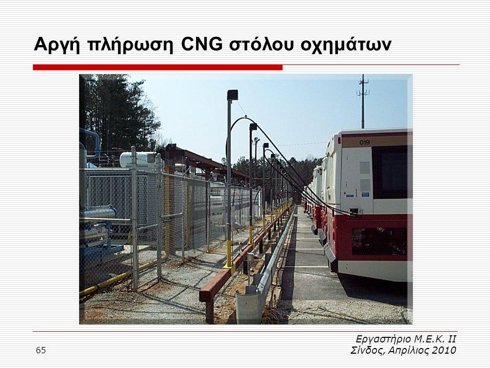 65 Αργή πλήρωση CNG στόλου οχημάτων Εργαστήριο Μ.Ε.Κ. ΙΙ Σίνδος, Απρίλιος 2010