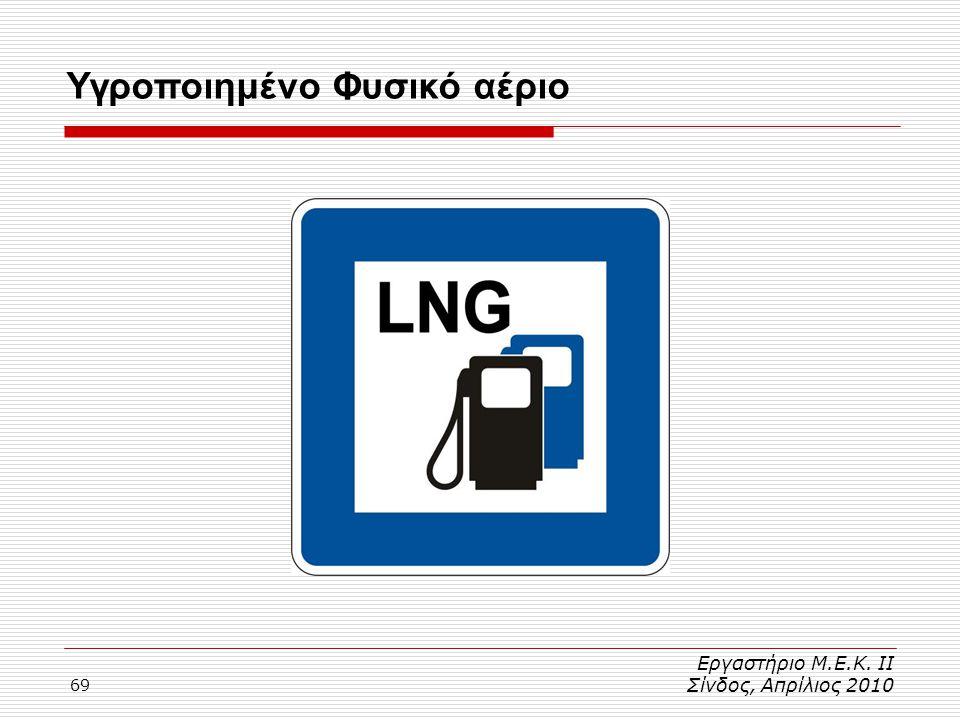 69 Εργαστήριο Μ.Ε.Κ. ΙΙ Σίνδος, Απρίλιος 2010 Υγροποιημένο Φυσικό αέριο