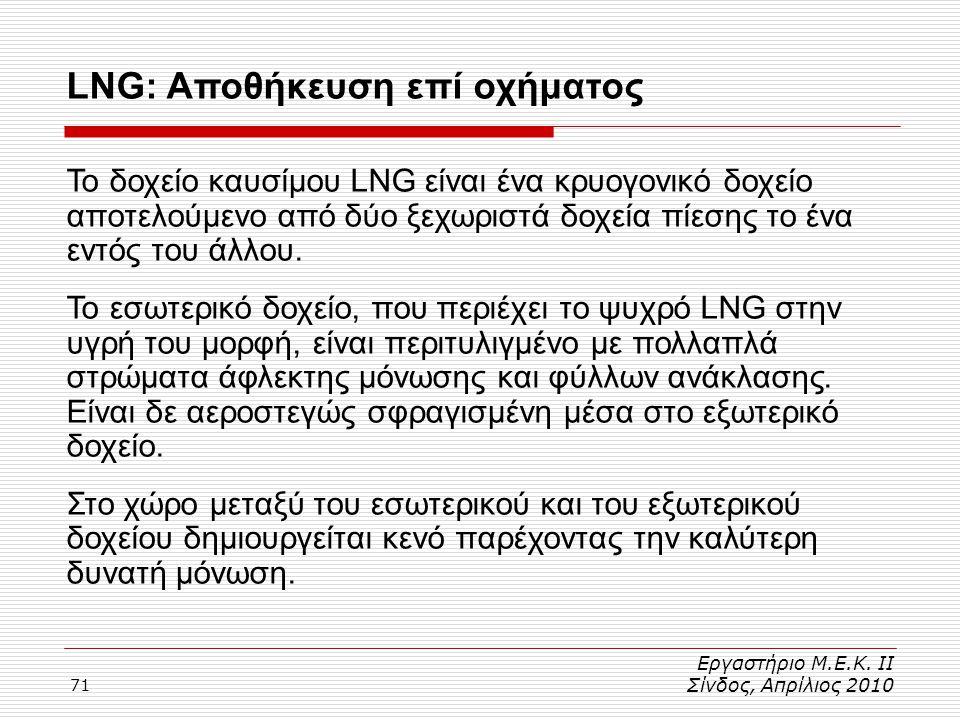 71 Εργαστήριο Μ.Ε.Κ. ΙΙ Σίνδος, Απρίλιος 2010 LNG: Αποθήκευση επί οχήματος Το δοχείο καυσίμου LNG είναι ένα κρυογονικό δοχείο αποτελούμενο από δύο ξεχ