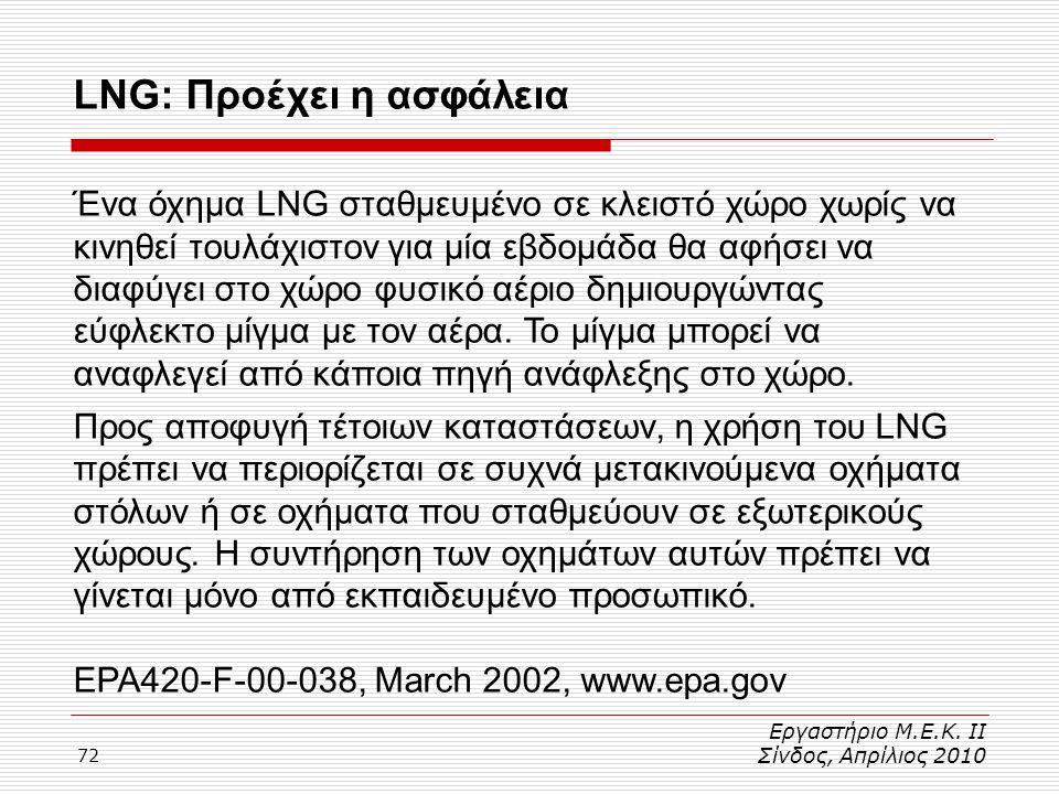 72 Εργαστήριο Μ.Ε.Κ. ΙΙ Σίνδος, Απρίλιος 2010 LNG: Προέχει η ασφάλεια Ένα όχημα LNG σταθμευμένο σε κλειστό χώρο χωρίς να κινηθεί τουλάχιστον για μία ε