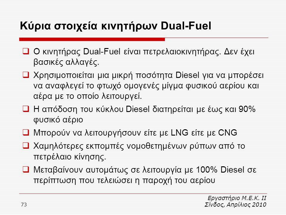 73 Κύρια στοιχεία κινητήρων Dual-Fuel Εργαστήριο Μ.Ε.Κ. ΙΙ Σίνδος, Απρίλιος 2010  Ο κινητήρας Dual-Fuel είναι πετρελαιοκινητήρας. Δεν έχει βασικές αλ