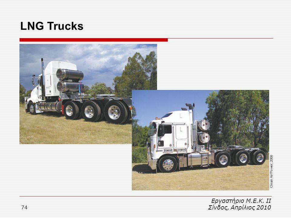 74 LNG Trucks Εργαστήριο Μ.Ε.Κ. ΙΙ Σίνδος, Απρίλιος 2010 Clean Air Power, 2008