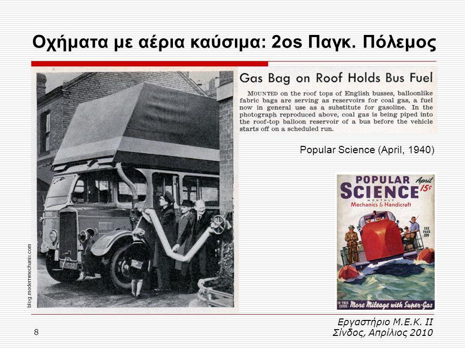 8 Εργαστήριο Μ.Ε.Κ. ΙΙ Σίνδος, Απρίλιος 2010 Popular Science (April, 1940) blog.modernmechanix.com Οχήματα με αέρια καύσιμα: 2os Παγκ. Πόλεμος