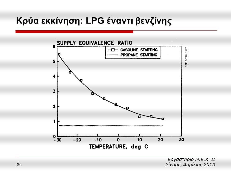 86 Κρύα εκκίνηση: LPG έναντι βενζίνης Εργαστήριο Μ.Ε.Κ. ΙΙ Σίνδος, Απρίλιος 2010 SAE P-248, 1992