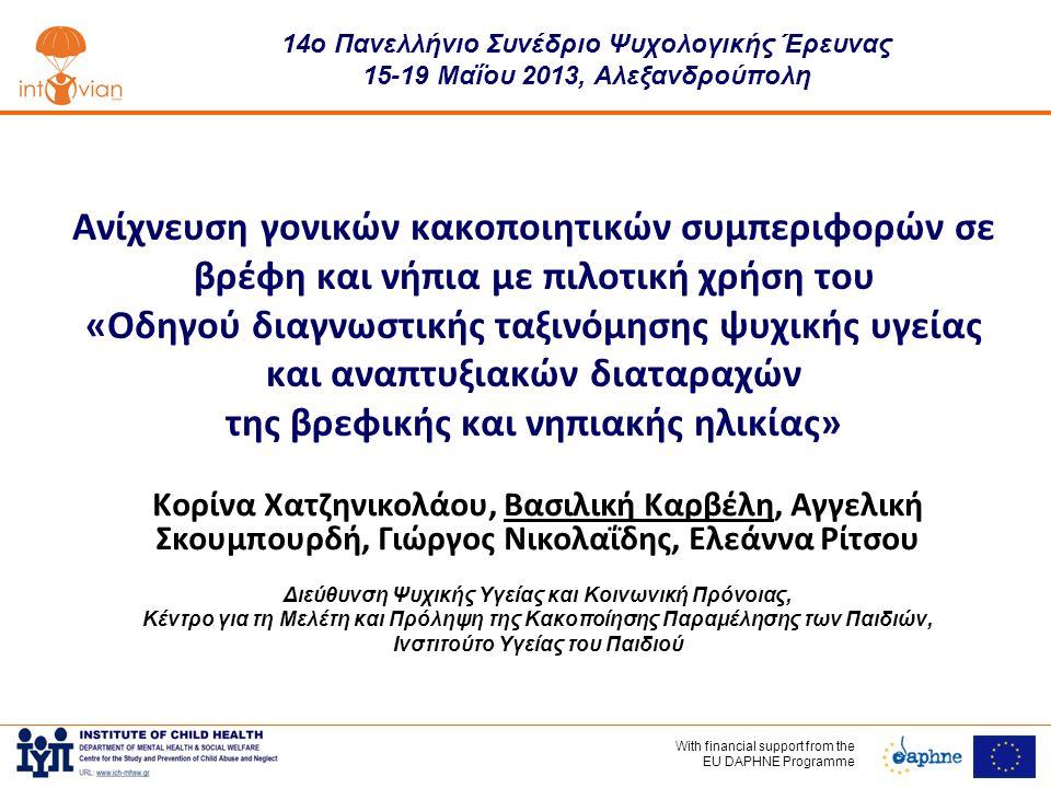 With financial support frοm the EU DAPHNE Programme Ανίχνευση γονικών κακοποιητικών συμπεριφορών σε βρέφη και νήπια με πιλοτική χρήση του «Οδηγού διαγνωστικής ταξινόμησης ψυχικής υγείας και αναπτυξιακών διαταραχών της βρεφικής και νηπιακής ηλικίας» Κορίνα Χατζηνικολάου, Βασιλική Καρβέλη, Αγγελική Σκουμπουρδή, Γιώργος Νικολαΐδης, Ελεάννα Ρίτσου Διεύθυνση Ψυχικής Υγείας και Κοινωνική Πρόνοιας, Κέντρο για τη Μελέτη και Πρόληψη της Κακοποίησης Παραμέλησης των Παιδιών, Ινστιτούτο Υγείας του Παιδιού 14ο Πανελλήνιο Συνέδριο Ψυχολογικής Έρευνας 15-19 Μαΐου 2013, Αλεξανδρούπολη