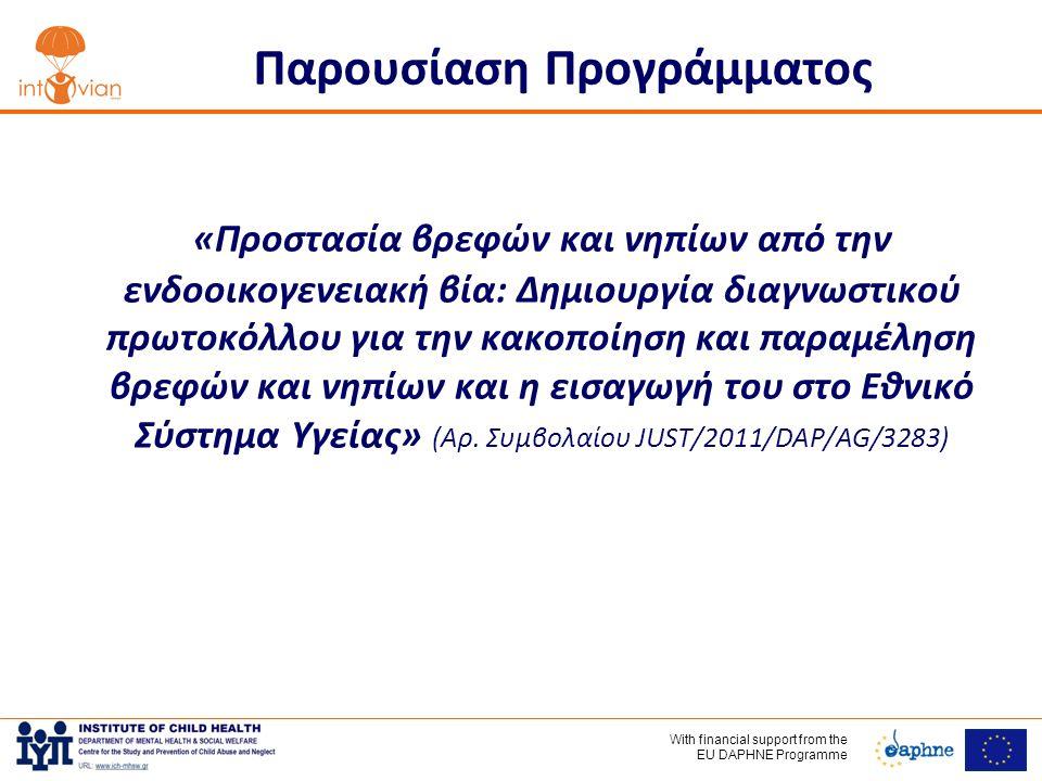 With financial support frοm the EU DAPHNE Programme Παρουσίαση Προγράμματος «Προστασία βρεφών και νηπίων από την ενδοοικογενειακή βία: Δημιουργία διαγνωστικού πρωτοκόλλου για την κακοποίηση και παραμέληση βρεφών και νηπίων και η εισαγωγή του στο Εθνικό Σύστημα Υγείας» (Αρ.