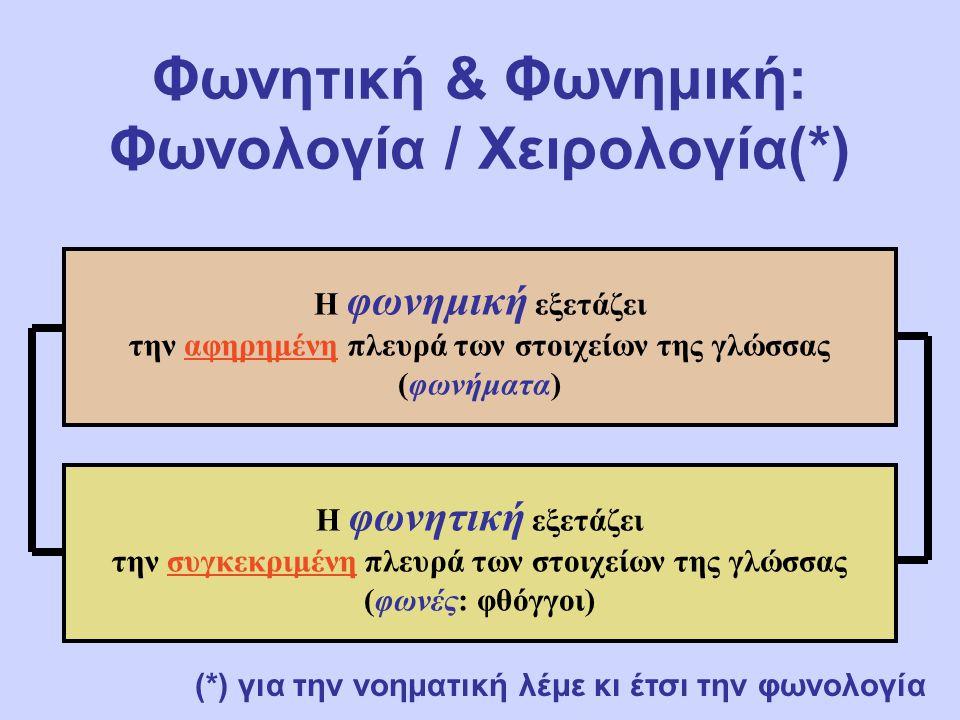 Φωνητική & Φωνημική: Φωνολογία / Χειρολογία(*) Η φωνημική εξετάζει την αφηρημένη πλευρά των στοιχείων της γλώσσας (φωνήματα) Η φωνητική εξετάζει την σ