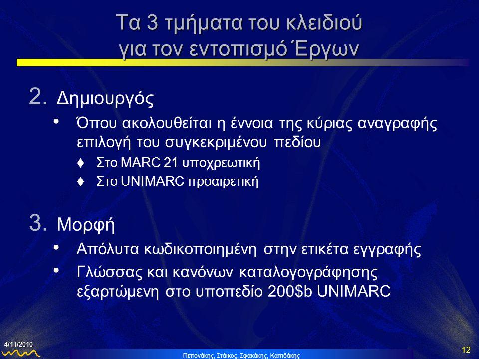 Πεπονάκης, Στάικος, Σφακάκης, Καπιδάκης 12 4/11/2010 Τα 3 τμήματα του κλειδιού για τον εντοπισμό Έργων 2.