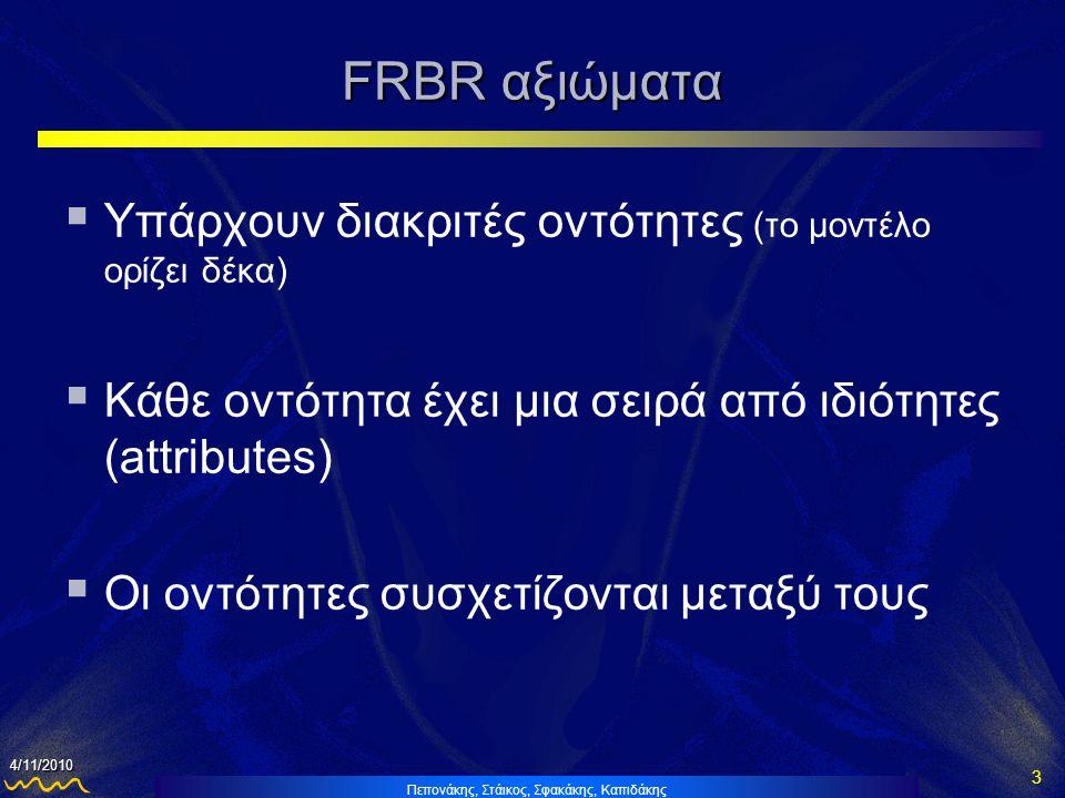 Πεπονάκης, Στάικος, Σφακάκης, Καπιδάκης 3 4/11/2010 FRBR αξιώματα  Υπάρχουν διακριτές οντότητες (το μοντέλο ορίζει δέκα)  Κάθε οντότητα έχει μια σειρά από ιδιότητες (attributes)  Οι οντότητες συσχετίζονται μεταξύ τους