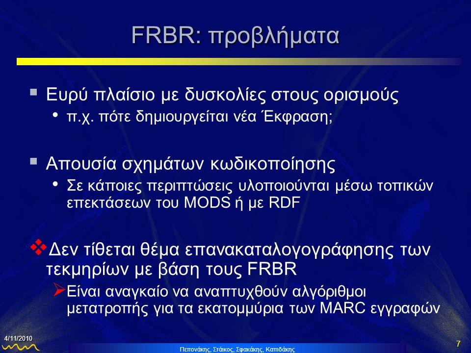 Πεπονάκης, Στάικος, Σφακάκης, Καπιδάκης 8 4/11/2010 FRBRization  Ορισμός FRBRization • Διαδικασία ανίχνευσης FRBR οντοτήτων, ιδιοτήτων και σχέσεων, από εγγραφές οι οποίες έχουν καταλογογραφηθεί πρωτογενώς σε διάφορα σχήματα κωδικοποίησης  Στάδια FRBRization • Εντοπισμός των εγγραφών που αποτελούν ένα Έργο • Εντοπισμός των εγγραφών που αποτελούν Εκφράσεις εντός του συγκεκριμένου Έργου • Εντοπισμός των εγγραφών που αποτελούν τα πολλαπλά Manifestations  Μόνο στην περίπτωση πολλών πηγών ή λανθασμένης καταλογογράφησης • Αντιστοίχιση των πληροφοριών (πεδίων-υποπεδίων) των βιβλιογραφικών εγγραφών στις αντίστοιχες οντότητες και ιδιότητες των FRBR • Δημιουργία της νέας δομής