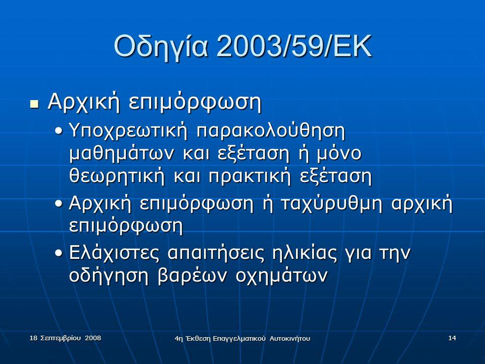 18 Σεπτεμβρίου 2008 4η Έκθεση Επαγγελματικού Αυτοκινήτου 14 Οδηγία 2003/59/EK  Αρχική επιμόρφωση •Υποχρεωτική παρακολούθηση μαθημάτων και εξέταση ή μόνο θεωρητική και πρακτική εξέταση •Αρχική επιμόρφωση ή ταχύρυθμη αρχική επιμόρφωση •Ελάχιστες απαιτήσεις ηλικίας για την οδήγηση βαρέων οχημάτων