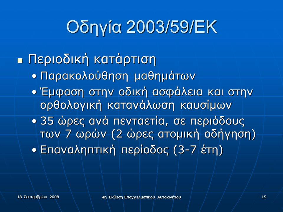 18 Σεπτεμβρίου 2008 4η Έκθεση Επαγγελματικού Αυτοκινήτου 15 Οδηγία 2003/59/EK  Περιοδική κατάρτιση •Παρακολούθηση μαθημάτων •Έμφαση στην οδική ασφάλεια και στην ορθολογική κατανάλωση καυσίμων •35 ώρες ανά πενταετία, σε περιόδους των 7 ωρών (2 ώρες ατομική οδήγηση) •Επαναληπτική περίοδος (3-7 έτη)