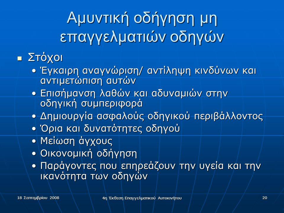 18 Σεπτεμβρίου 2008 4η Έκθεση Επαγγελματικού Αυτοκινήτου 20 Αμυντική οδήγηση μη επαγγελματιών οδηγών  Στόχοι •Έγκαιρη αναγνώριση/ αντίληψη κινδύνων και αντιμετώπιση αυτών •Επισήμανση λαθών και αδυναμιών στην οδηγική συμπεριφορά •Δημιουργία ασφαλούς οδηγικού περιβάλλοντος •Όρια και δυνατότητες οδηγού •Μείωση άγχους •Οικονομική οδήγηση •Παράγοντες που επηρεάζουν την υγεία και την ικανότητα των οδηγών