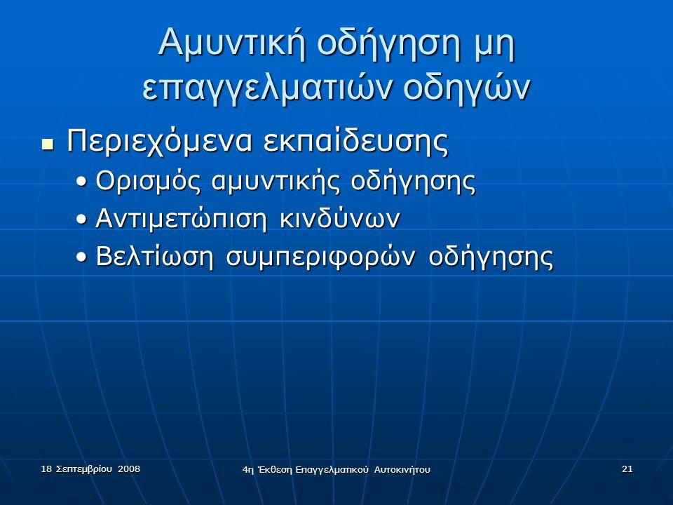 18 Σεπτεμβρίου 2008 4η Έκθεση Επαγγελματικού Αυτοκινήτου 21 Αμυντική οδήγηση μη επαγγελματιών οδηγών  Περιεχόμενα εκπαίδευσης •Ορισμός αμυντικής οδήγησης •Αντιμετώπιση κινδύνων •Βελτίωση συμπεριφορών οδήγησης