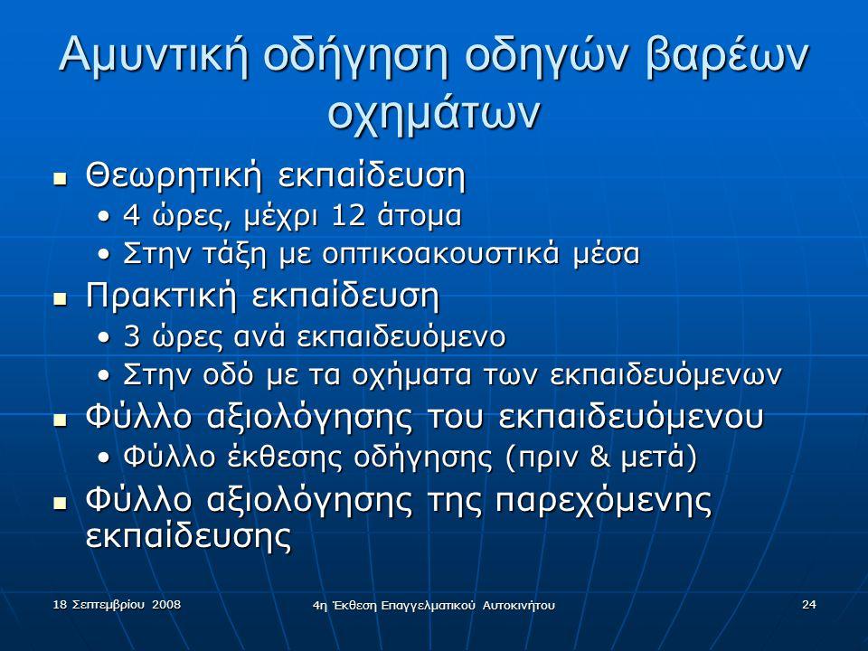 18 Σεπτεμβρίου 2008 4η Έκθεση Επαγγελματικού Αυτοκινήτου 24 Αμυντική οδήγηση οδηγών βαρέων οχημάτων  Θεωρητική εκπαίδευση •4 ώρες, μέχρι 12 άτομα •Στ