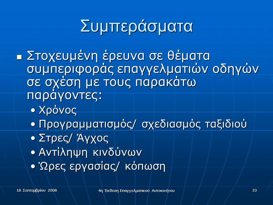 18 Σεπτεμβρίου 2008 4η Έκθεση Επαγγελματικού Αυτοκινήτου 33 Συμπεράσματα  Στοχευμένη έρευνα σε θέματα συμπεριφοράς επαγγελματιών οδηγών σε σχέση με τ