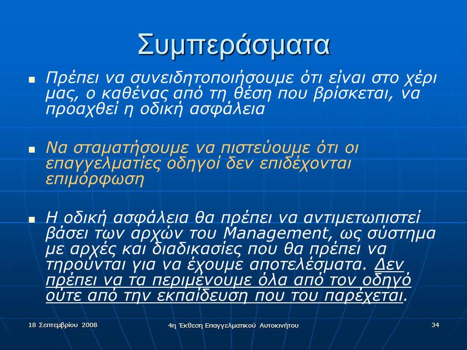 18 Σεπτεμβρίου 2008 4η Έκθεση Επαγγελματικού Αυτοκινήτου 34 Συμπεράσματα   Πρέπει να συνειδητοποιήσουμε ότι είναι στο χέρι μας, ο καθένας από τη θέσ
