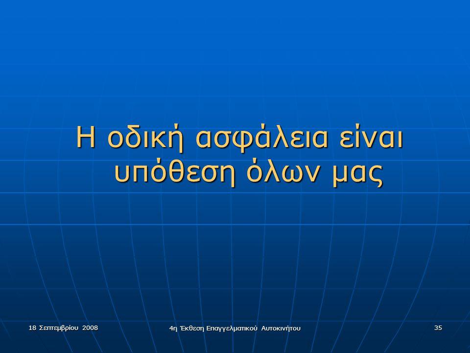 18 Σεπτεμβρίου 2008 4η Έκθεση Επαγγελματικού Αυτοκινήτου 35 Η οδική ασφάλεια είναι υπόθεση όλων μας