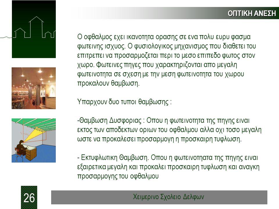 ΟΠΤΙΚΗ ΑΝΕΣΗ 26 Χειμερινο Σχολειο Δελφων Ο οφθαλμος εχει ικανοτητα ορασης σε ενα πολυ ευρυ φασμα φωτεινης ισχυος. Ο φυσιολογικος μηχανισμος που διαθετ