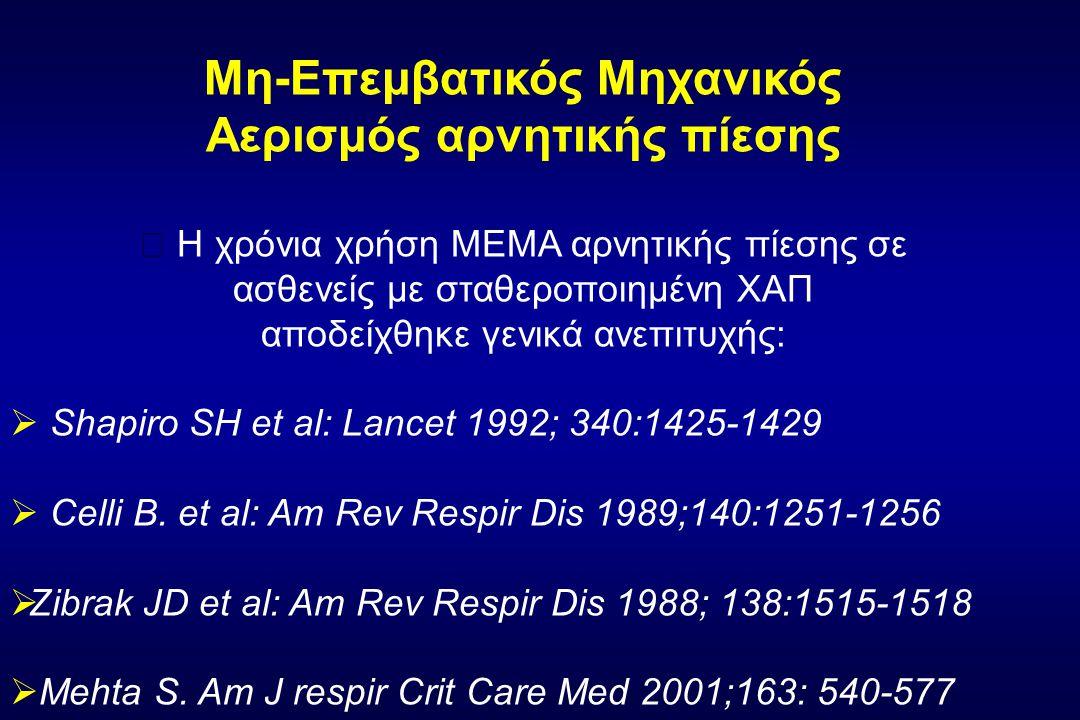 Μη-Επεμβατικός Μηχανικός Αερισμός αρνητικής πίεσης  Η χρόνια χρήση ΜΕΜΑ αρνητικής πίεσης σε ασθενείς με σταθεροποιημένη ΧΑΠ αποδείχθηκε γενικά ανεπιτυχής:  Shapiro SH et al: Lancet 1992; 340:1425-1429  Celli B.