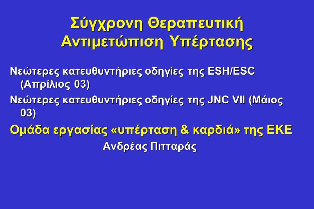 Σχετιζόμενες κλινικές καταστάσεις ως προγνωστικοί παράγοντες στην ΑΥ •Εγκεφαλική αγγειακή νόσος: ισχαιμικό ΑΕΕ, εγκεφαλική αιμορραγία, παροδικό ΑΕΕ •Καρδιακή νόσος: ΟΕΜ, στηθάγχη, PTCA/CABG, συμφορητική καρδιακή ανεπάρκεια •Νεφρική νόσος: διαβητική νεφροπάθεια, νεφρική ανεπάρκεια (Cr Α >1.5, Θ >1.4 mg/dl), πρωτεϊνουρία (>300 mg/24h) •Περιφερική αγγειακή νόσος •Προχωρημένου βαθμού αμφιβληστροειδοπάθεια: αιμορραγίες ή εξιδρώματα, οίδημα οπτικής θηλής ESC/ESH 2003