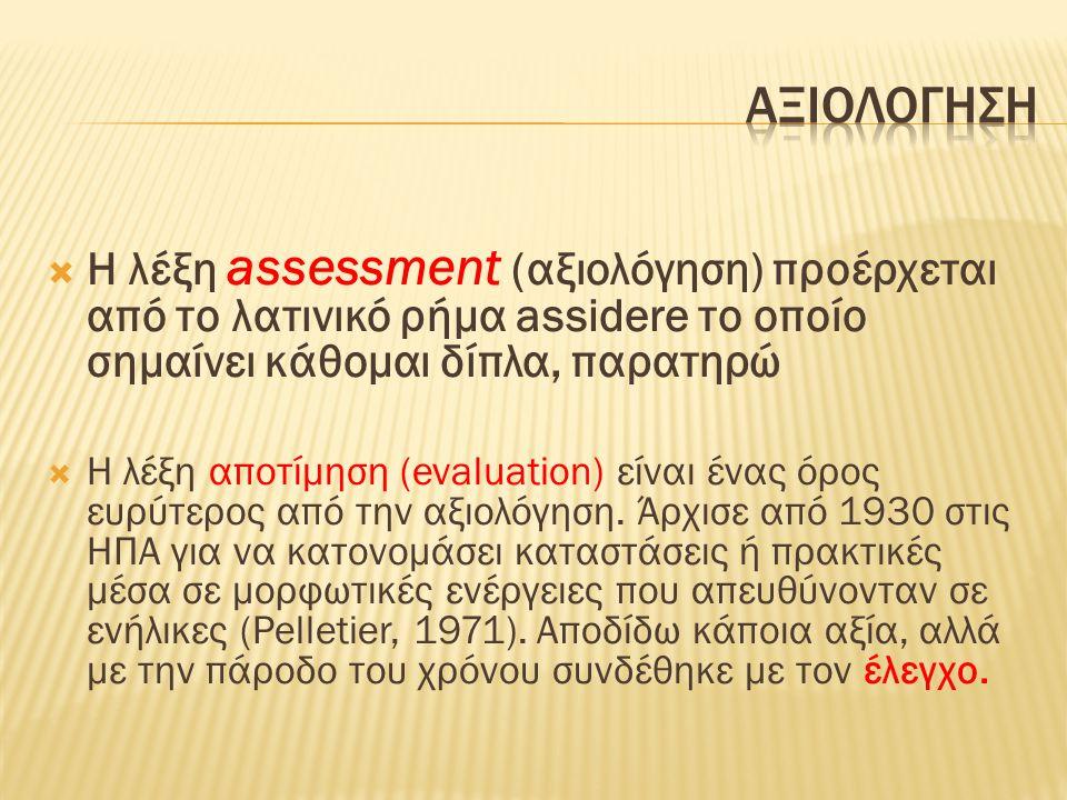  Η λέξη assessment (αξιολόγηση) προέρχεται από το λατινικό ρήμα assidere το οποίο σημαίνει κάθομαι δίπλα, παρατηρώ  Η λέξη αποτίμηση (evaluation) είναι ένας όρος ευρύτερος από την αξιολόγηση.