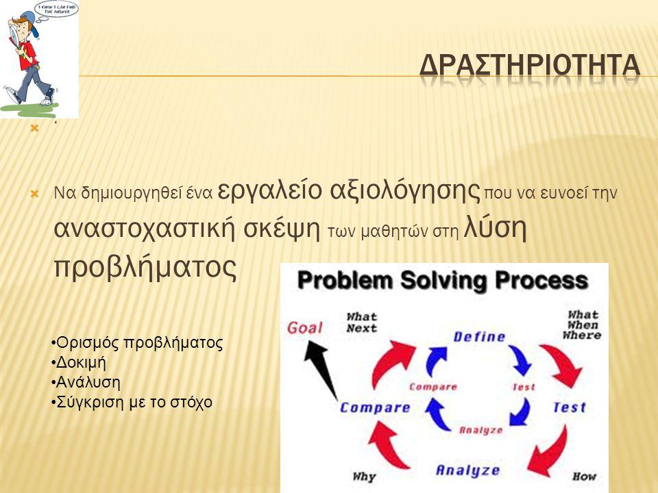  '  Να δημιουργηθεί ένα εργαλείο αξιολόγησης που να ευνοεί την αναστοχαστική σκέψη των μαθητών στη λύση προβλήματος •Ορισμός προβλήματος •Δοκιμή •Ανάλυση •Σύγκριση με το στόχο