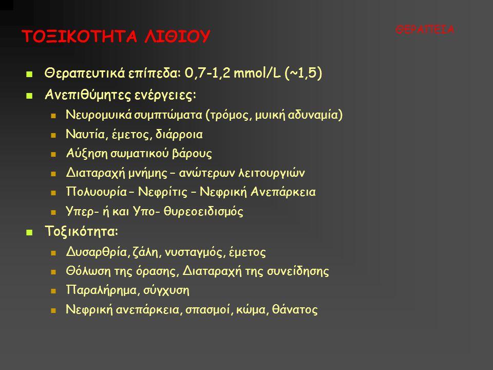 ΤΟΞΙΚΟΤΗΤΑ ΛΙΘΙΟΥ ΘΕΡΑΠΕΙΑ  Θεραπευτικά επίπεδα: 0,7-1,2 mmol/L (~1,5)  Ανεπιθύμητες ενέργειες:  Νευρομυικά συμπτώματα (τρόμος, μυική αδυναμία)  Ναυτία, έμετος, διάρροια  Αύξηση σωματικού βάρους  Διαταραχή μνήμης – ανώτερων λειτουργιών  Πολυουρία – Νεφρίτις – Νεφρική Ανεπάρκεια  Υπερ- ή και Υπο- θυρεοειδισμός  Τοξικότητα:  Δυσαρθρία, ζάλη, νυσταγμός, έμετος  Θόλωση της όρασης, Διαταραχή της συνείδησης  Παραλήρημα, σύγχυση  Νεφρική ανεπάρκεια, σπασμοί, κώμα, θάνατος