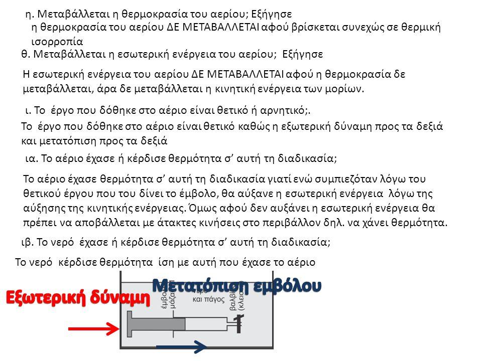 η. Μεταβάλλεται η θερμοκρασία του αερίου; Εξήγησε η θερμοκρασία του αερίου ΔΕ ΜΕΤΑΒΑΛΛΕΤΑΙ αφού βρίσκεται συνεχώς σε θερμική ισορροπία θ. Μεταβάλλεται