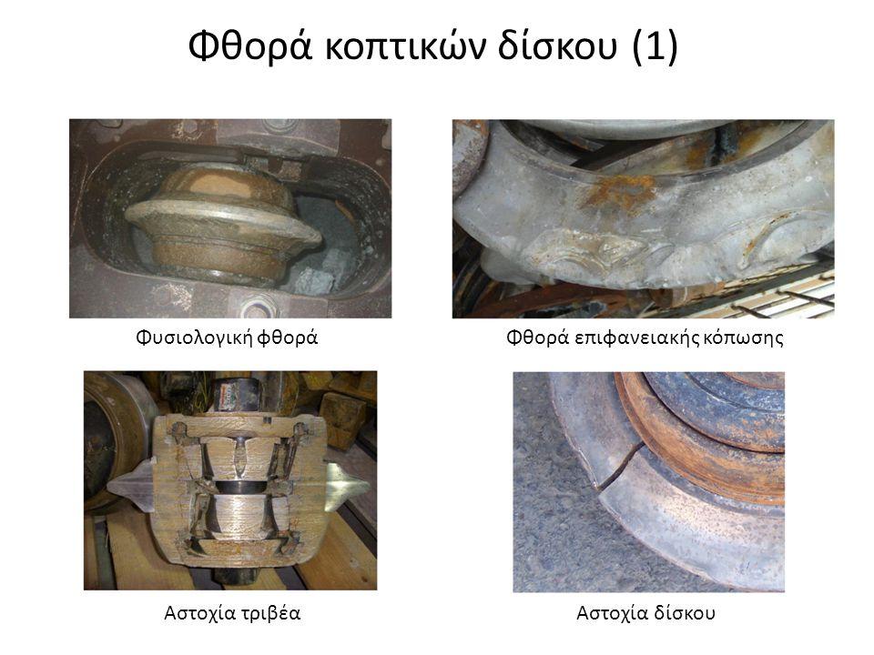 Φθορά κοπτικών δίσκου (1) Φυσιολογική φθοράΦθορά επιφανειακής κόπωσης Αστοχία τριβέαΑστοχία δίσκου