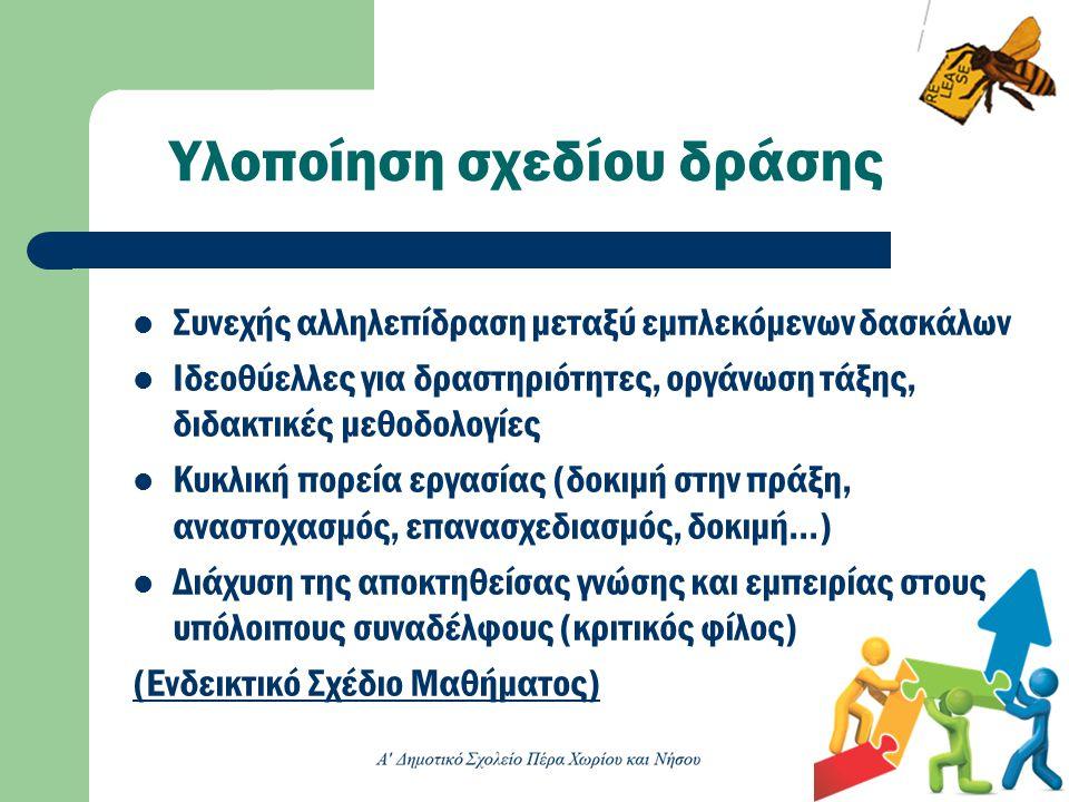 Υλοποίηση σχεδίου δράσης  Συνεχής αλληλεπίδραση μεταξύ εμπλεκόμενων δασκάλων  Ιδεοθύελλες για δραστηριότητες, οργάνωση τάξης, διδακτικές μεθοδολογίε