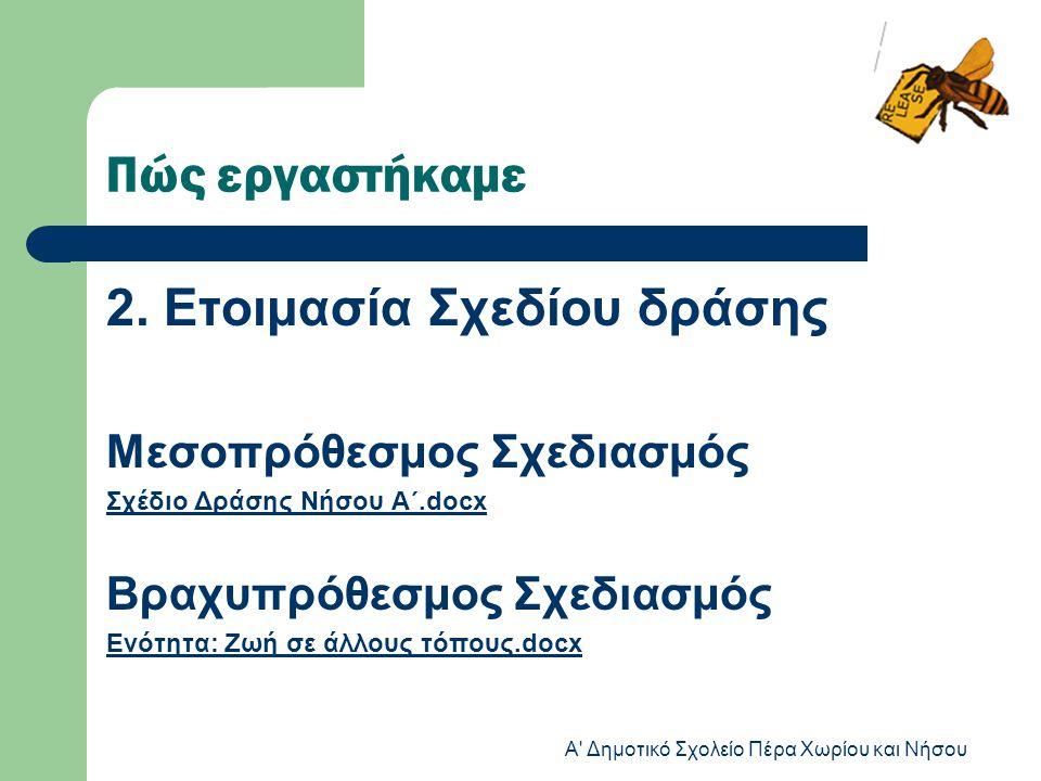 Πώς εργαστήκαμε 2. Ετοιμασία Σχεδίου δράσης Μεσοπρόθεσμος Σχεδιασμός Σχέδιο Δράσης Νήσου Α΄.docx Βραχυπρόθεσμος Σχεδιασμός Ενότητα: Ζωή σε άλλους τόπο