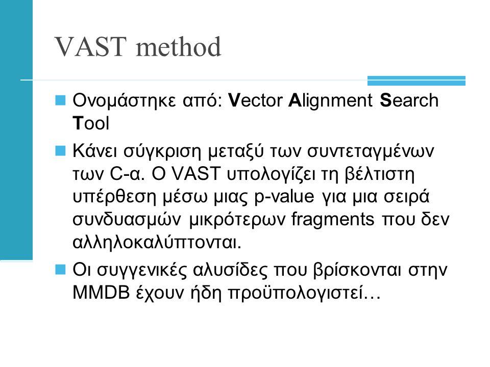VAST method  Ονομάστηκε από: Vector Alignment Search Tool  Κάνει σύγκριση μεταξύ των συντεταγμένων των C-α.