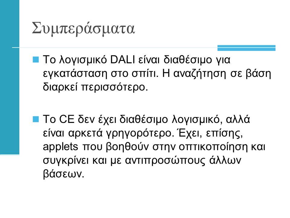 Συμπεράσματα  Το λογισμικό DALI είναι διαθέσιμο για εγκατάσταση στο σπίτι.