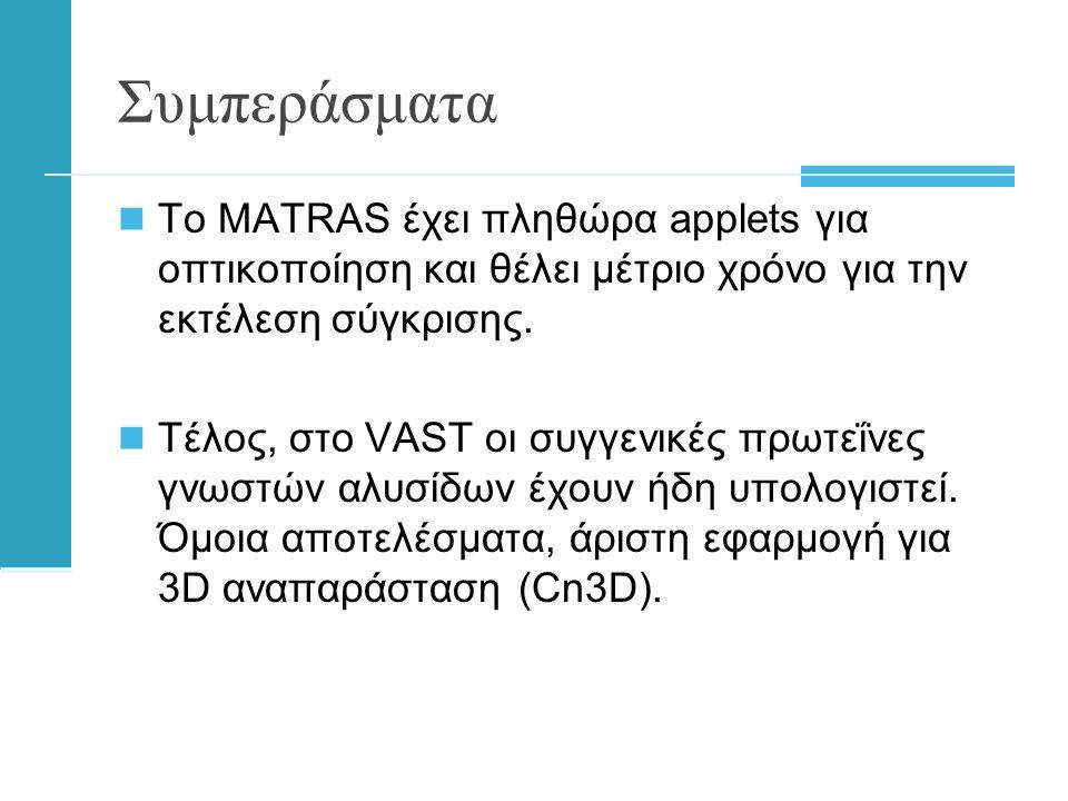 Συμπεράσματα  Το ΜATRAS έχει πληθώρα applets για οπτικοποίηση και θέλει μέτριο χρόνο για την εκτέλεση σύγκρισης.
