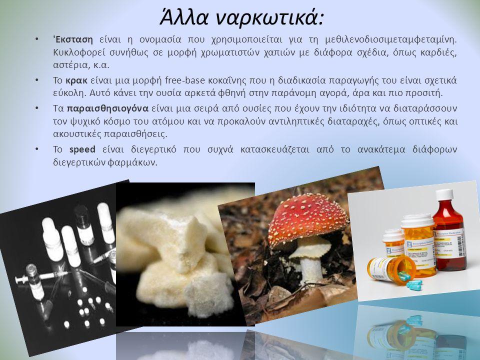Άλλα ναρκωτικά: • 'Εκσταση είναι η ονομασία που χρησιμοποιείται για τη μεθιλενοδιοσιμεταμφεταμίνη. Κυκλοφορεί συνήθως σε μορφή χρωματιστών χαπιών με δ