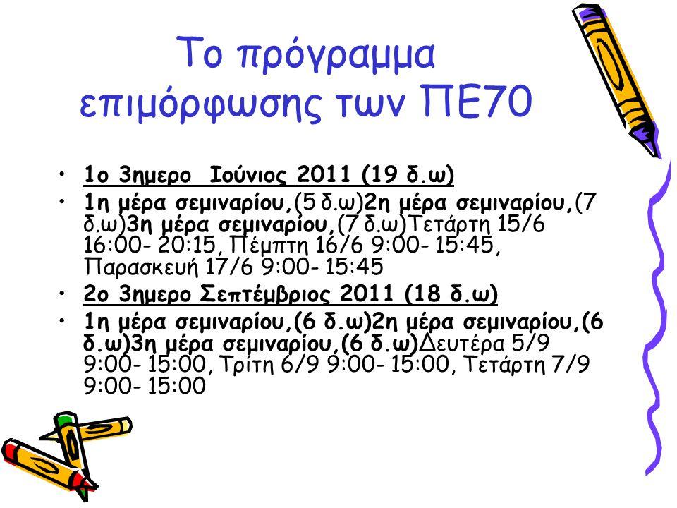 Το πρόγραμμα επιμόρφωσης των ΠΕ70 •1ο 3ημερο Ιούνιος 2011 (19 δ.ω) •1η μέρα σεμιναρίου,(5 δ.ω)2η μέρα σεμιναρίου,(7 δ.ω)3η μέρα σεμιναρίου,(7 δ.ω)Τετά