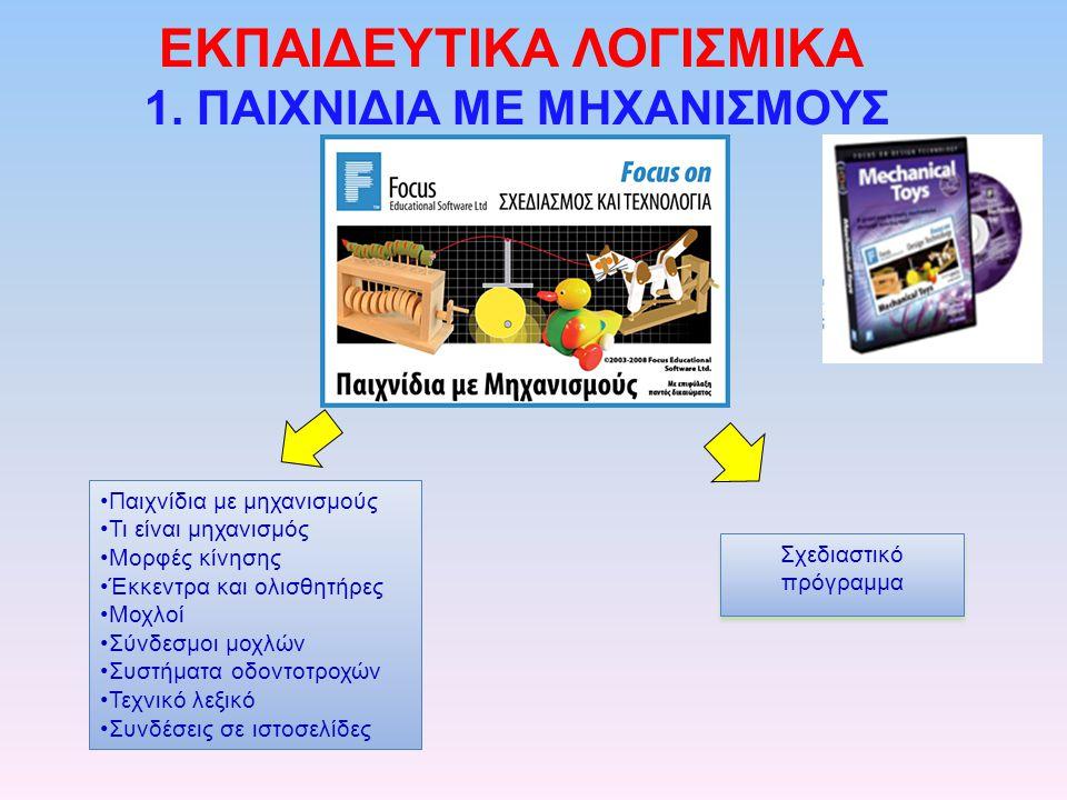 EΚΠΑΙΔΕΥΤΙΚΑ ΛΟΓΙΣΜΙΚΑ 1. ΠΑΙΧΝΙΔΙΑ ΜΕ ΜΗΧΑΝΙΣΜΟΥΣ •Παιχνίδια με μηχανισμούς •Τι είναι μηχανισμός •Μορφές κίνησης •Έκκεντρα και ολισθητήρες •Μοχλοί •Σ