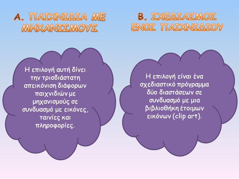 Η επιλογή είναι ένα σχεδιαστικό πρόγραμμα δύο διαστάσεων σε συνδυασμό με μια βιβλιοθήκη έτοιμων εικόνων (clip art). Η επιλογή αυτή δίνει την τρισδιάστ