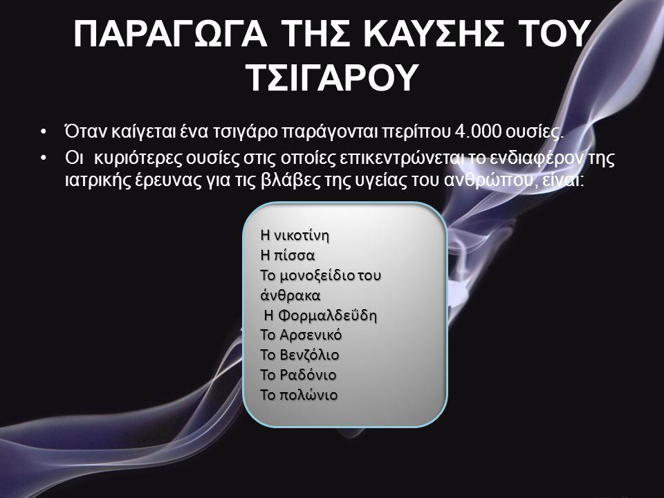 ΠΑΡΑΓΩΓΑ ΤΗΣ ΚΑΥΣΗΣ ΤΟΥ ΤΣΙΓΑΡΟΥ •Όταν καίγεται ένα τσιγάρο παράγονται περίπου 4.000 ουσίες. •Οι κυριότερες ουσίες στις οποίες επικεντρώνεται το ενδια