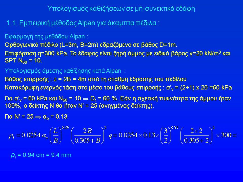Εφαρμογή της μεθόδου Alpan : Ορθογωνικό πέδιλο (L=3m, Β=2m) εδραζόμενο σε βάθος D=1m. Επιφόρτιση q=300 kPa. Το έδαφος είναι ξηρή άμμος με ειδικό βάρος