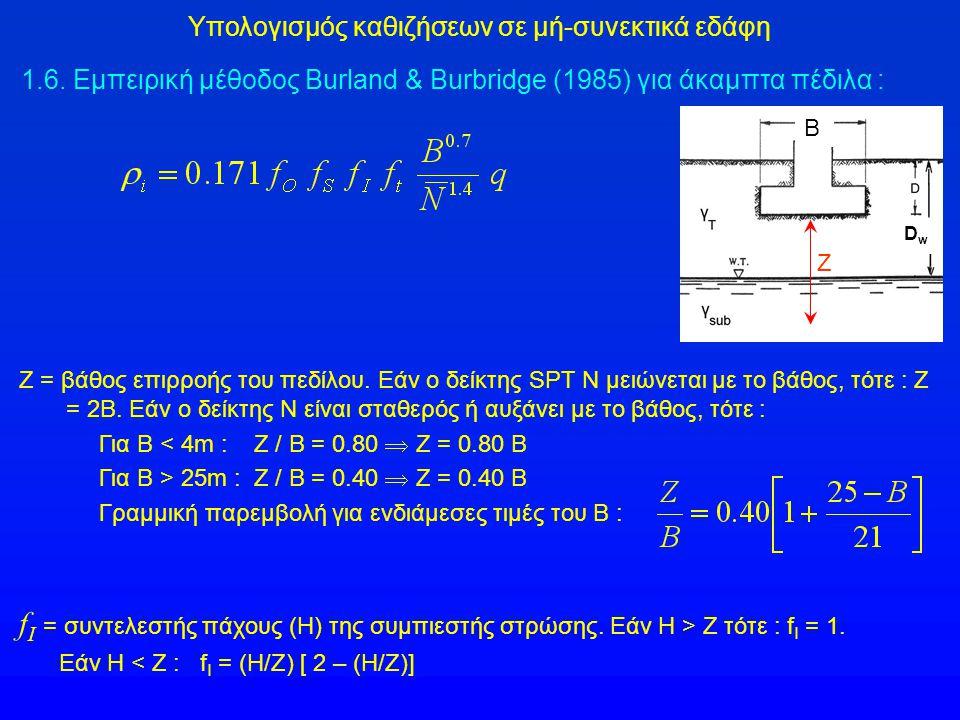 Ζ = βάθος επιρροής του πεδίλου. Εάν ο δείκτης SPT N μειώνεται με το βάθος, τότε : Ζ = 2Β. Εάν ο δείκτης Ν είναι σταθερός ή αυξάνει με το βάθος, τότε :