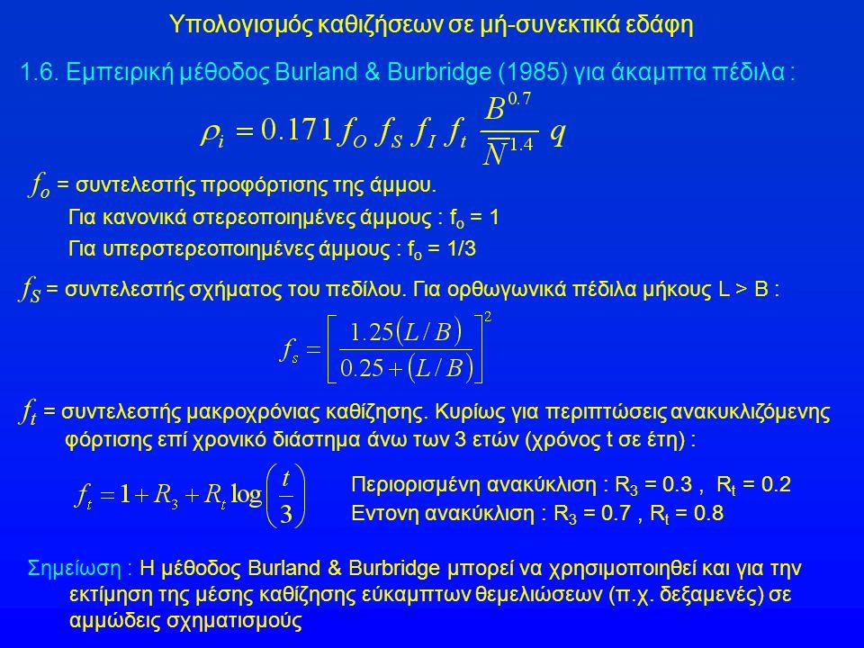 Υπολογισμός καθιζήσεων σε μή-συνεκτικά εδάφη 1.6. Εμπειρική μέθοδος Burland & Burbridge (1985) για άκαμπτα πέδιλα : f S = συντελεστής σχήματος του πεδ