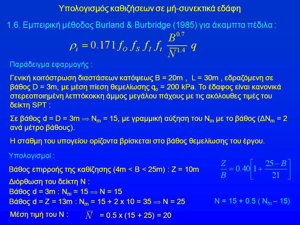 Υπολογισμός καθιζήσεων σε μή-συνεκτικά εδάφη 1.6. Εμπειρική μέθοδος Burland & Burbridge (1985) για άκαμπτα πέδιλα : Παράδειγμα εφαρμογής : Γενική κοιτ