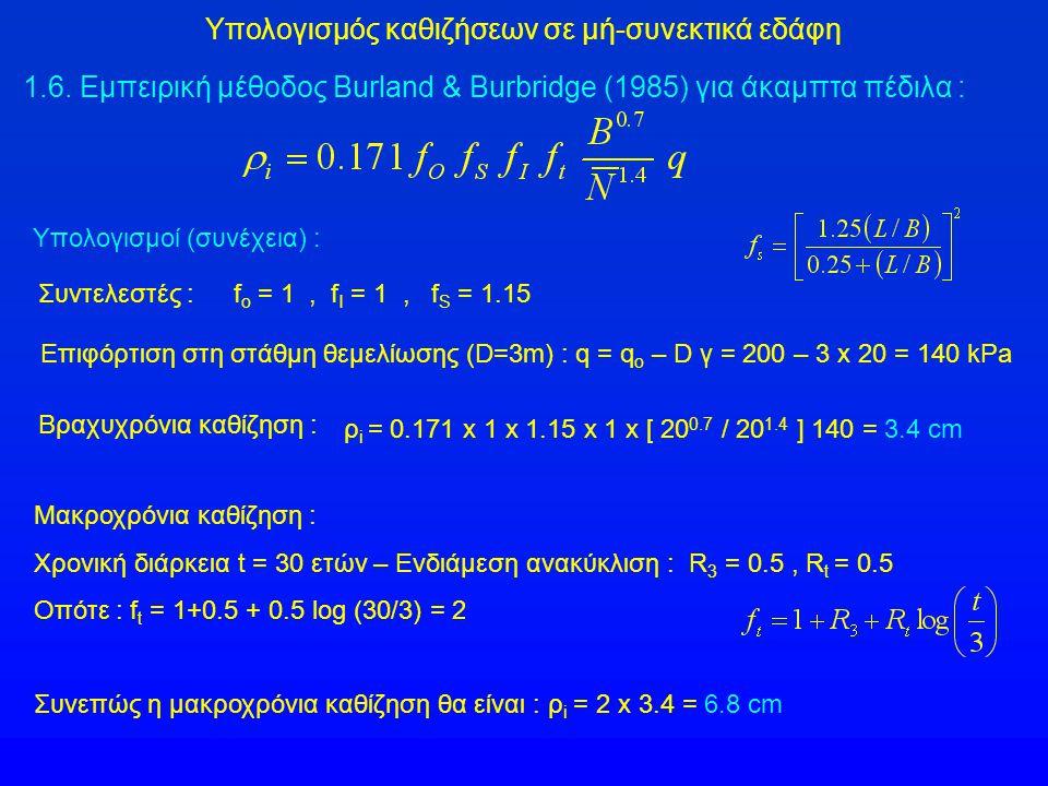 Υπολογισμός καθιζήσεων σε μή-συνεκτικά εδάφη 1.6. Εμπειρική μέθοδος Burland & Burbridge (1985) για άκαμπτα πέδιλα : Υπολογισμοί (συνέχεια) : f o = 1,