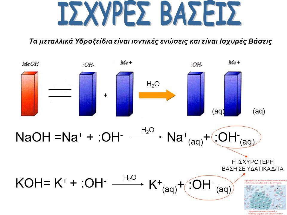 Τα οξέα που ιοντίζονται πλήρως στο νερό ονοµάζονται ισχυρά. Τα οξέα που ιοντίζονται µερικώς στο νερό ονοµάζονται ασθενή.