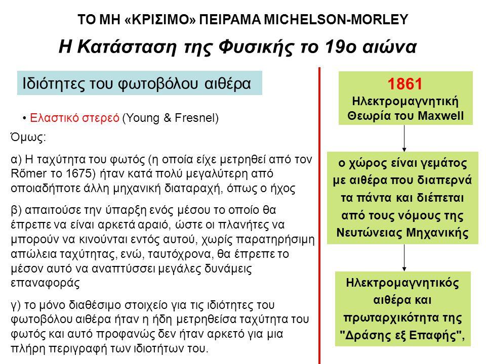 Η Κατάσταση της Φυσικής το 19ο αιώνα Ιδιότητες του φωτοβόλου αιθέρα • Ελαστικό στερεό (Young & Fresnel) Όμως: α) Η ταχύτητα του φωτός (η οποία είχε με